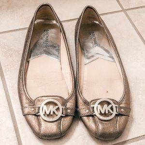 Metallic Gold Michael Kors Ballet Flats - Size 10